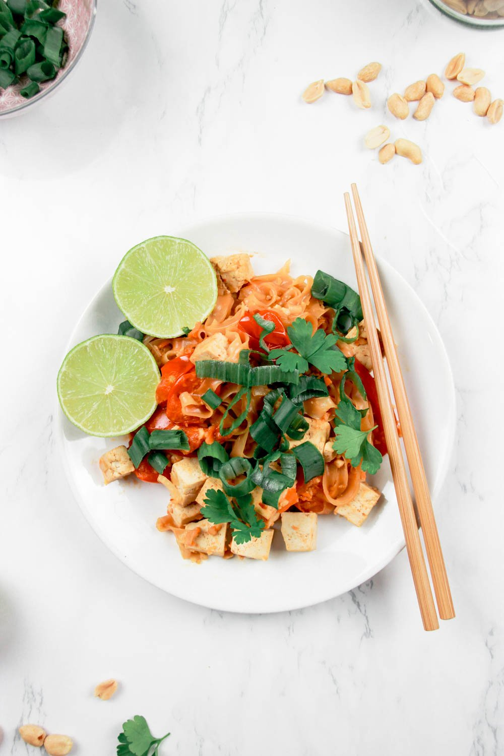 This picture shows the finished Authentic Vegan Pad Thai..