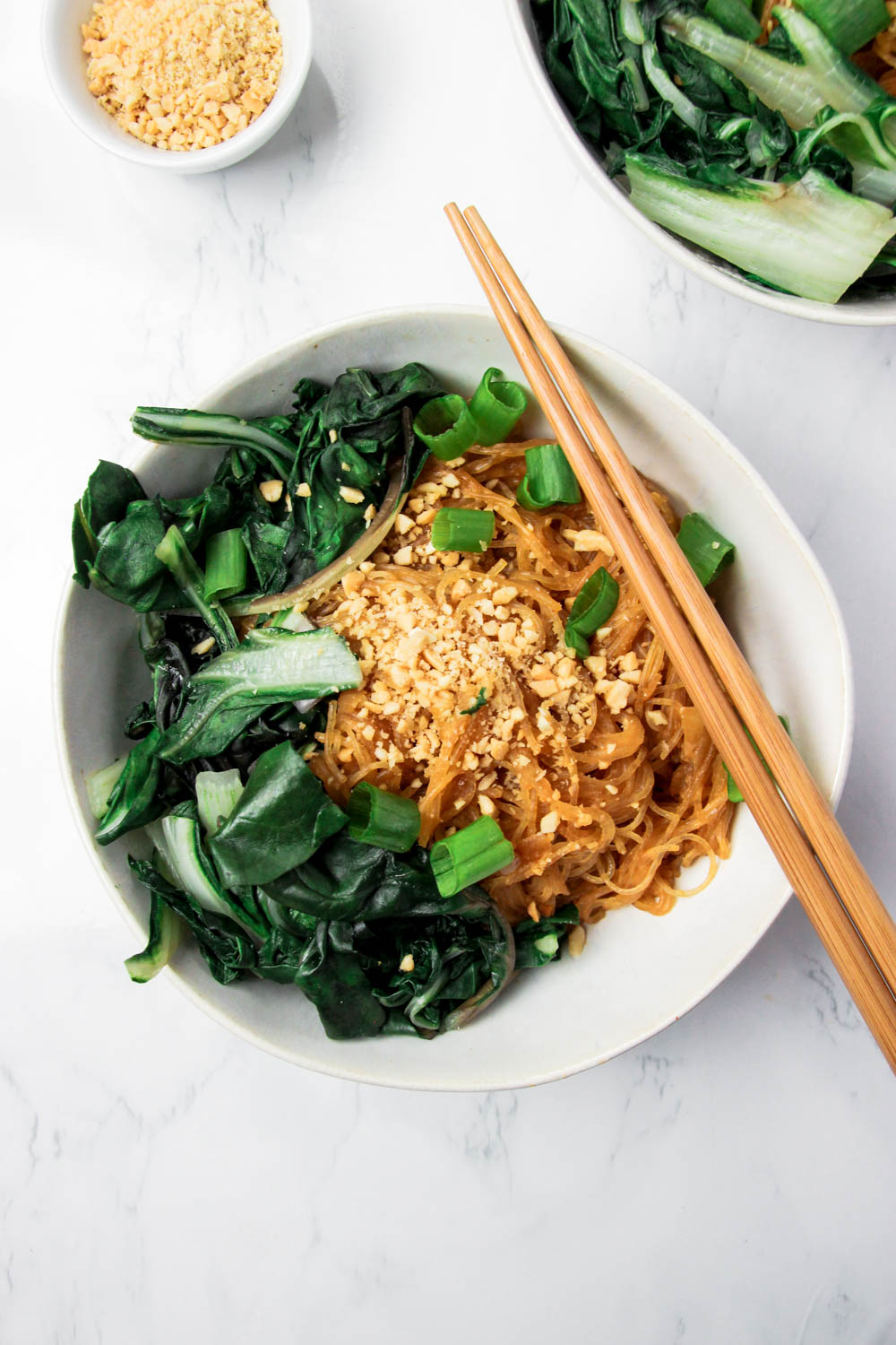 Spicy Peanut Thai Noodles topped with spring onions and peanuts and pak choi on the side
