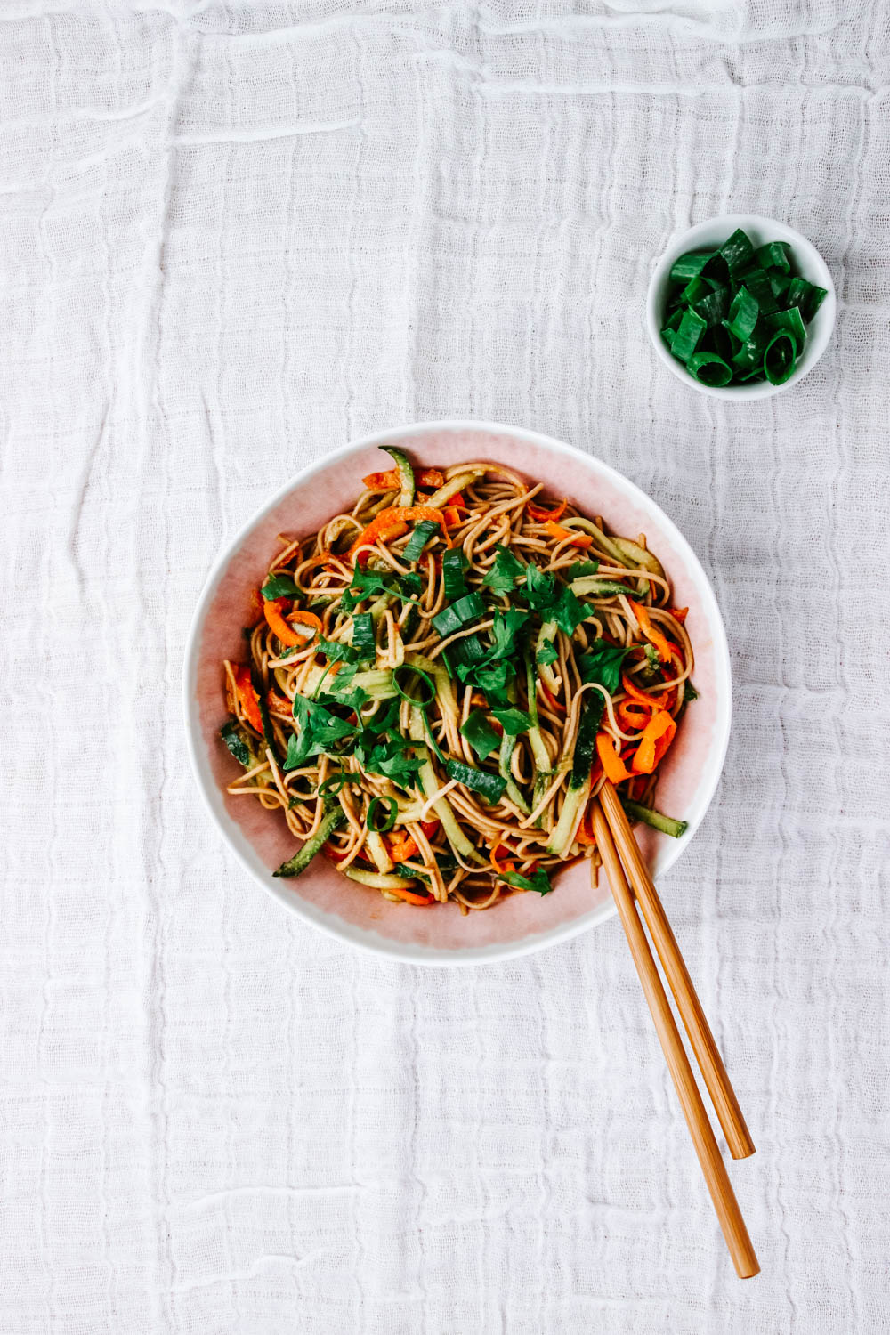 Sesame Soba Noodle Salad with Spring Onions on the side