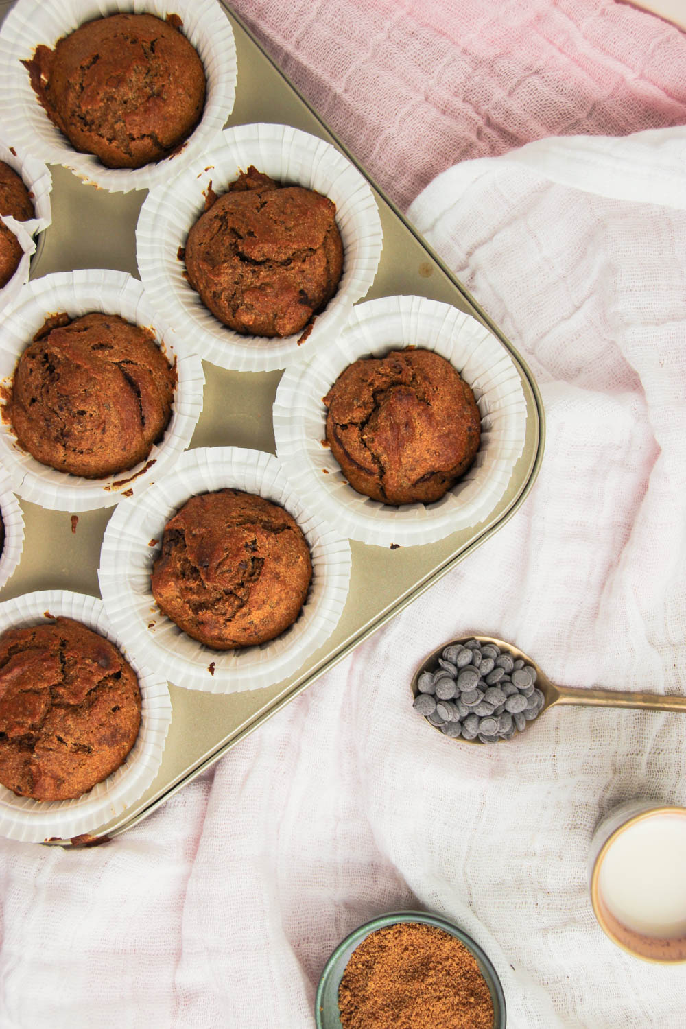 Healthy Pumpkin Muffins with chocolate chips and oat milk on the side.