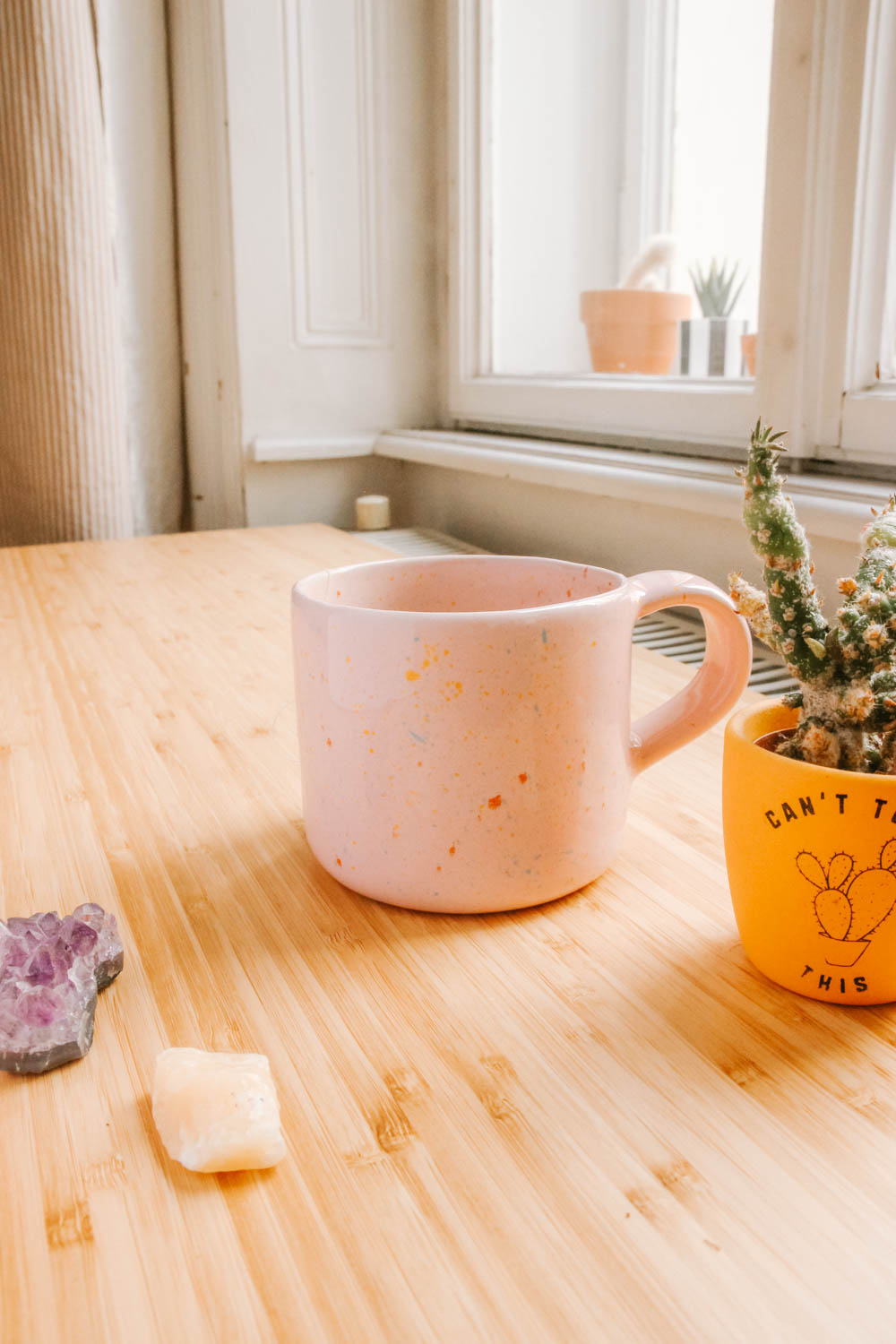 A cup of tea next to a cactus and some crystals